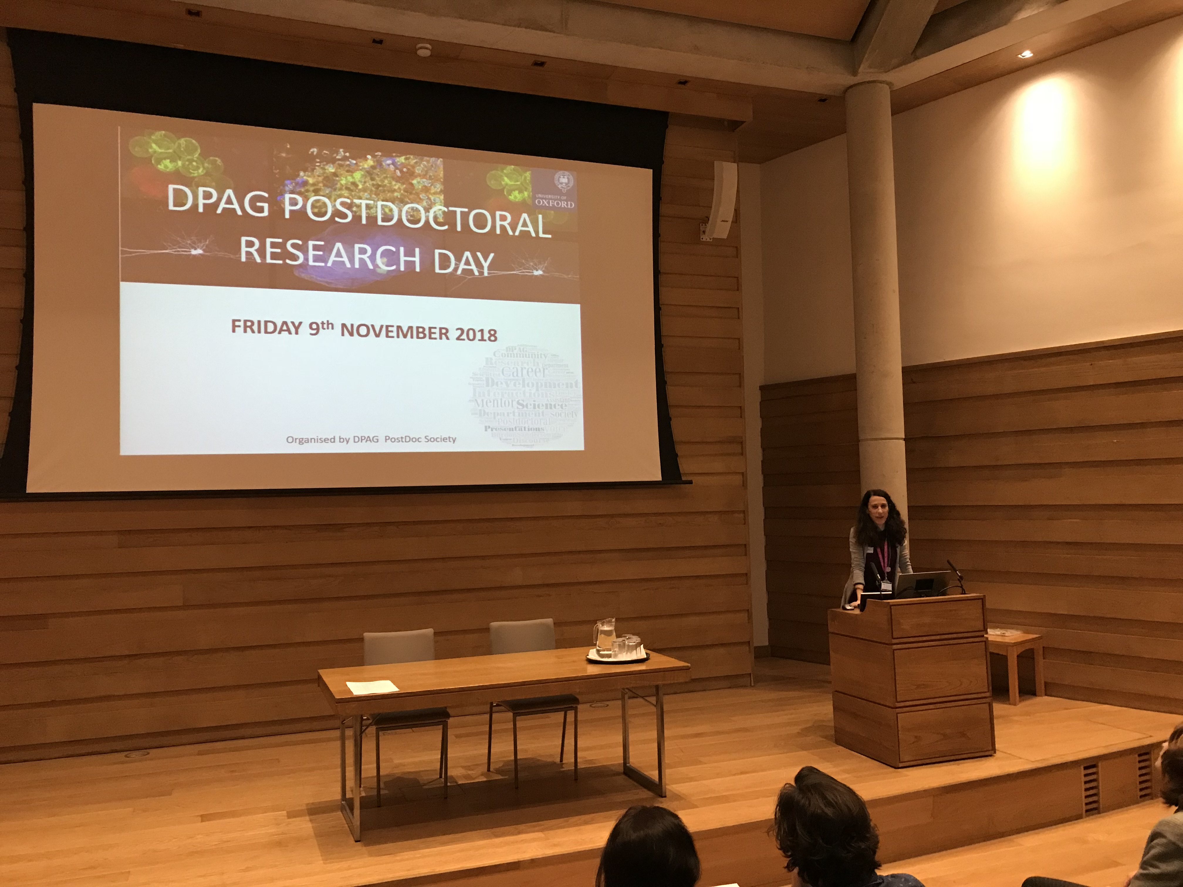 Postdoc rep Stefania Monterisi introduces the Research Day
