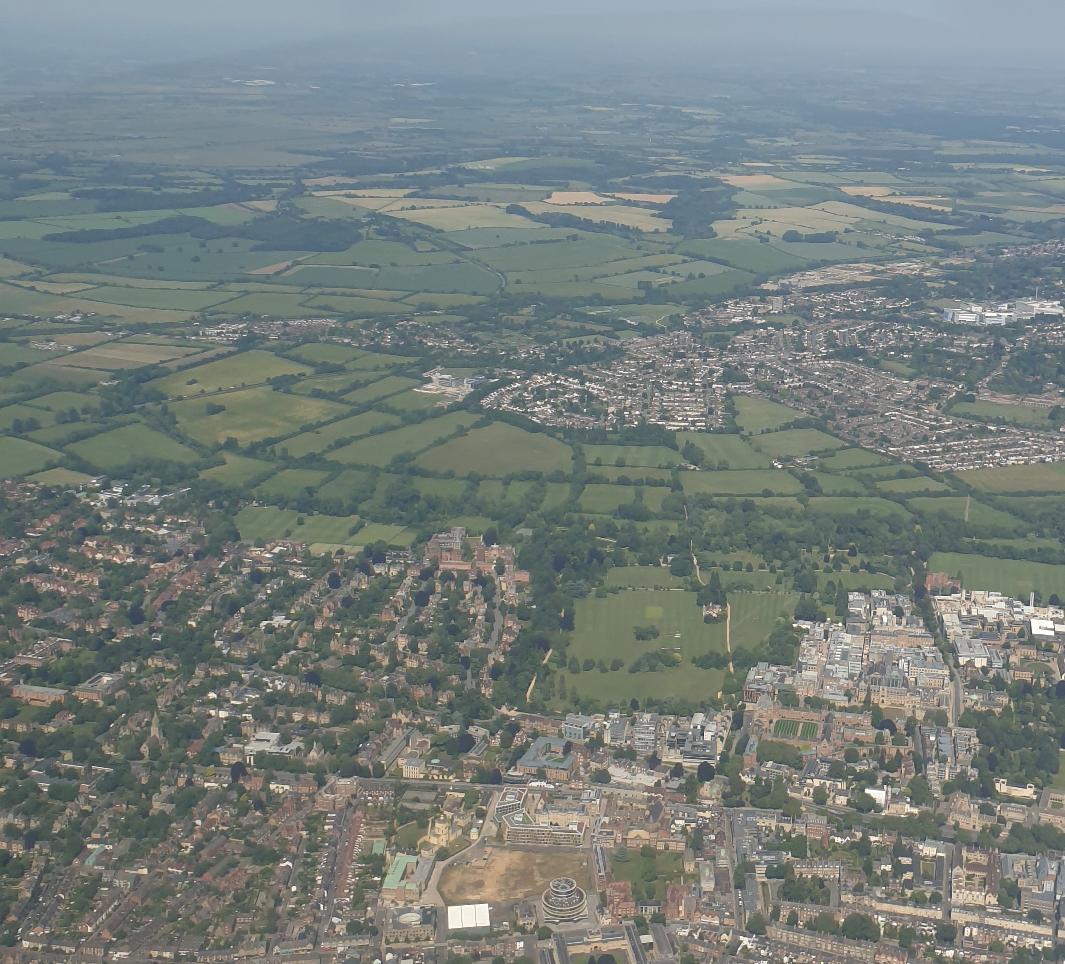 Photograph taken from the air over Oxford city featuring the departmental buildings.