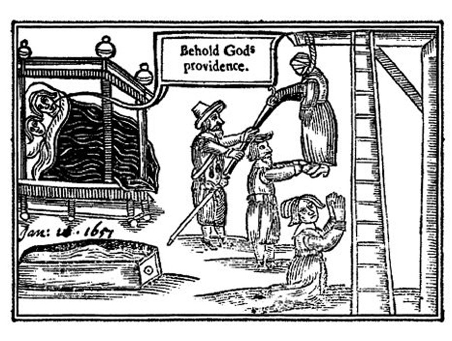 "Engraving of the hanging of Anne Green viewed by a couple in bed exclaiming ""Behold God's providence"""