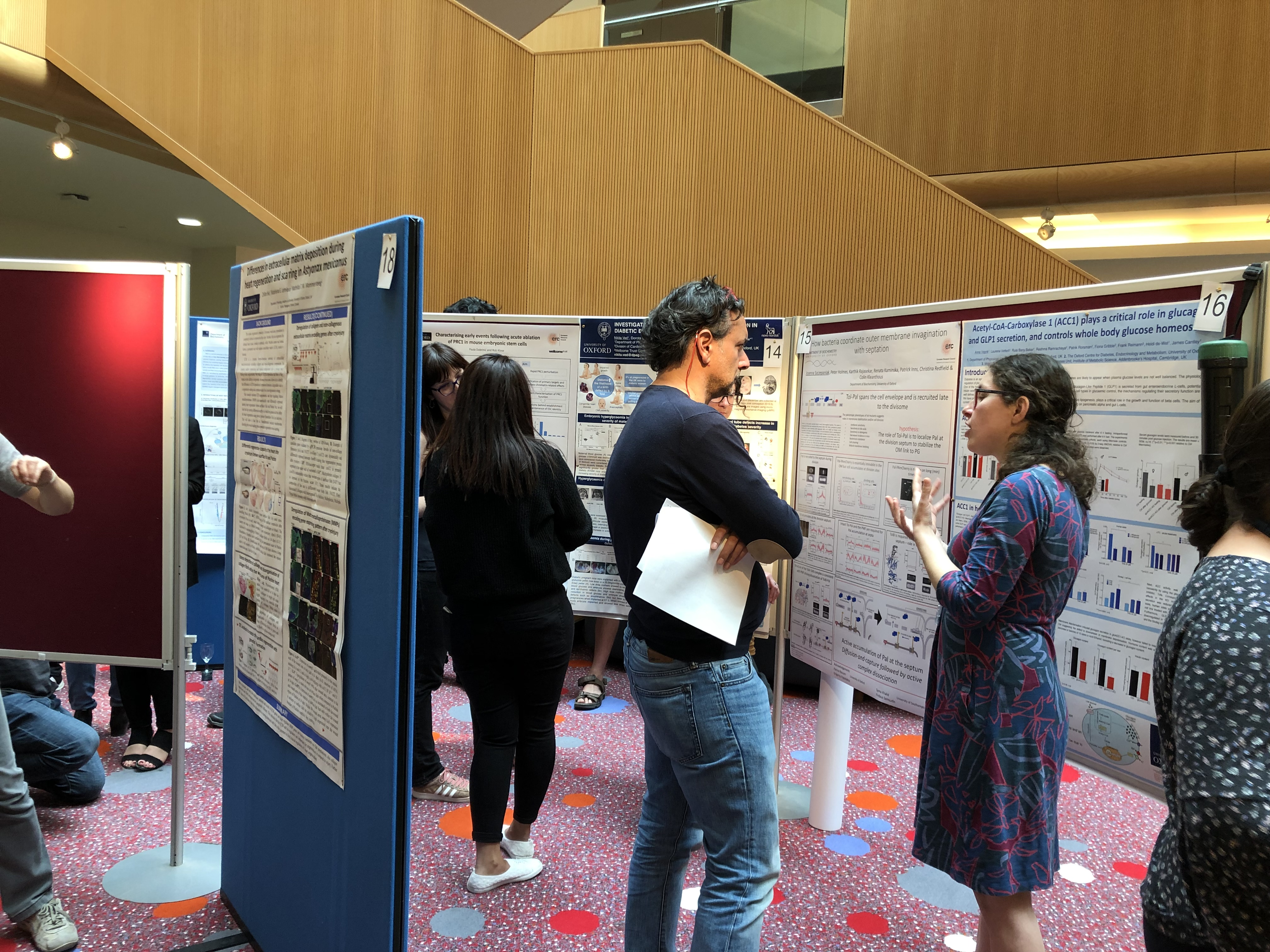A postdoc explains her poster to a fellow researcher with others doing the same in the background.