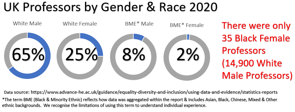 Image showing % of UK professors by gender and race - 65% white male, 25% white female, 8% BME male, 2% BME female