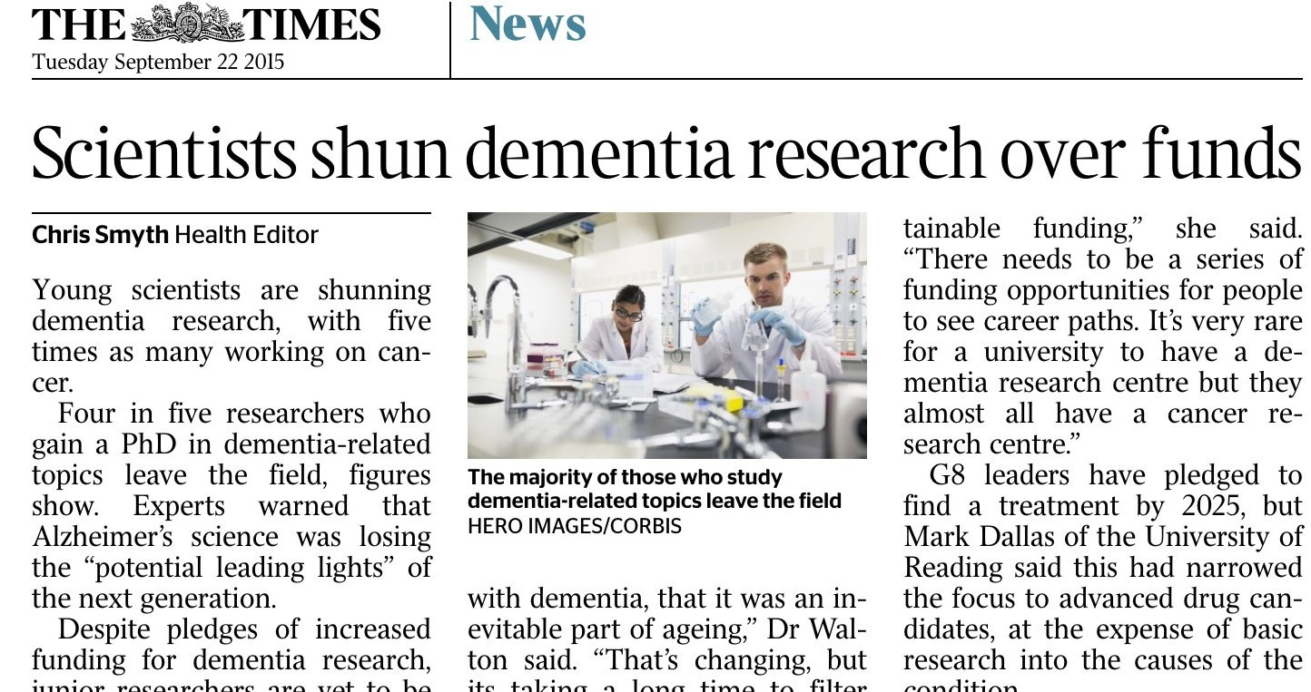 ECN representative Mark Dallas comments in The Times on the difficulty of limited funding in dementia research.