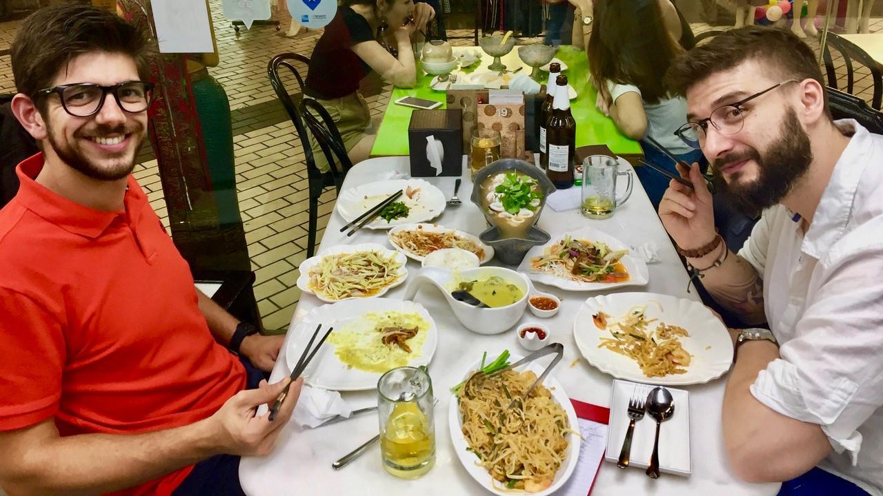 Lab members eating dinner