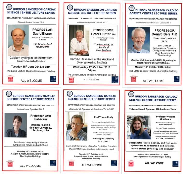 Decorative Montage of six Burdon-Sanderson lecture posters: 18 June 2013,  2 October 2013, 13 October 2014, 12 October 2015, 11 October 2016 and 15 October 2017.
