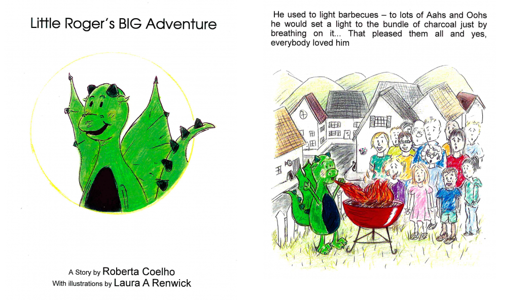 Illustrations of a little green dragon