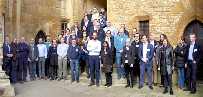 The new consortium team stood outside the department in a group photo.