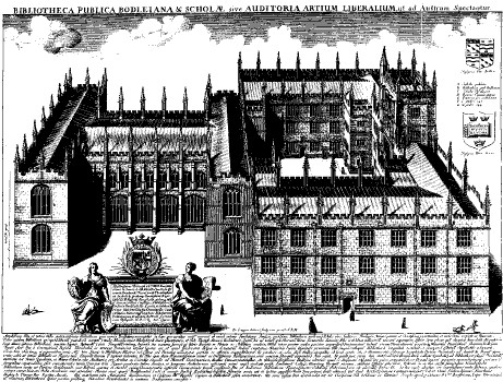 17th century engraving of the Oxford Anatomy School