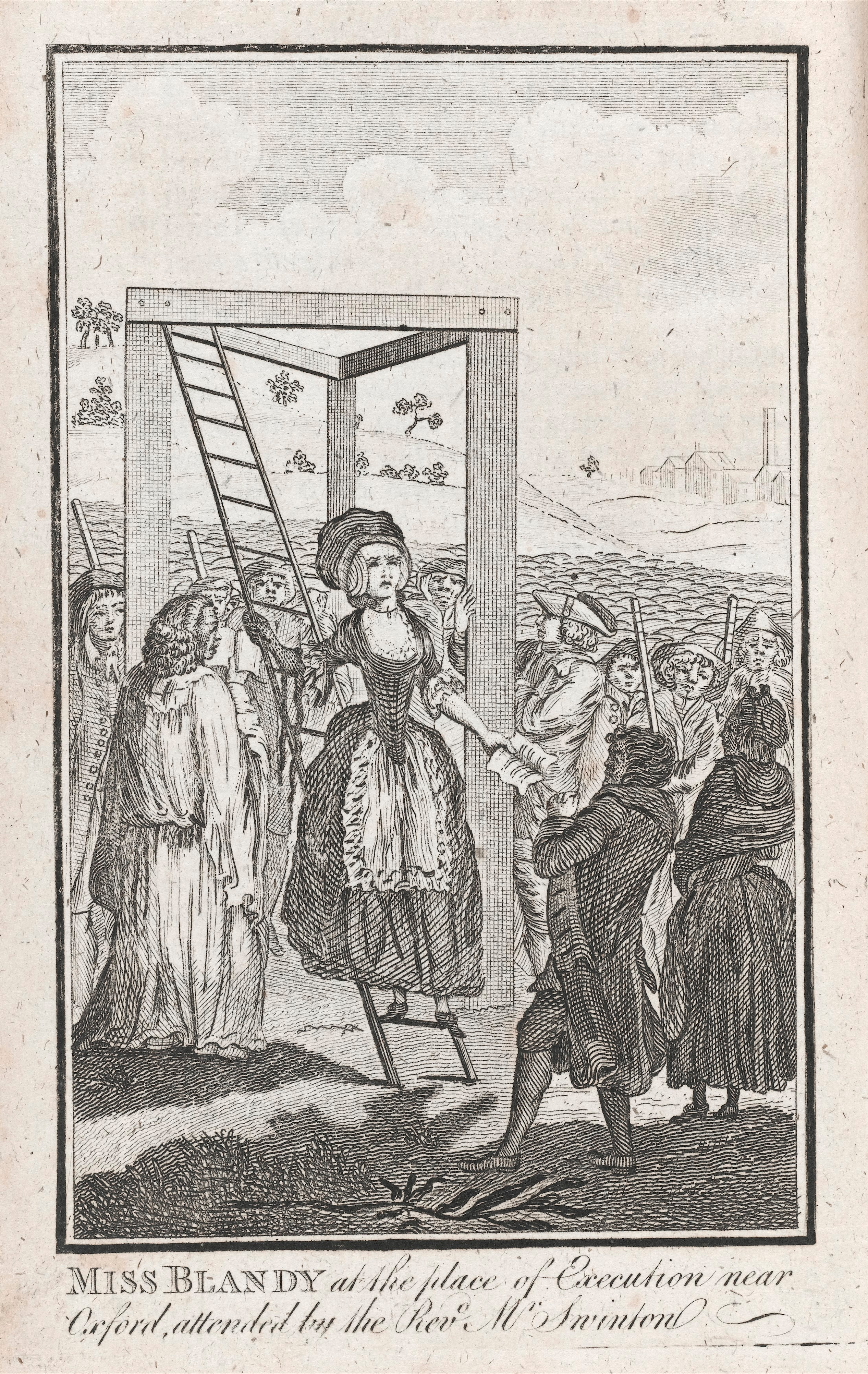 Engraving of a woman climbing a ladder to the scaffold titled